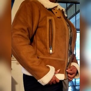 Taupe Fur Bomber Jacket